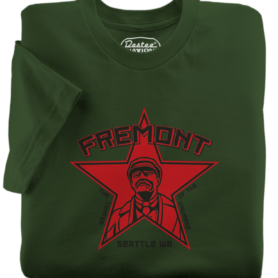 Fremont Seattle Lenin Army Green T-Shirt