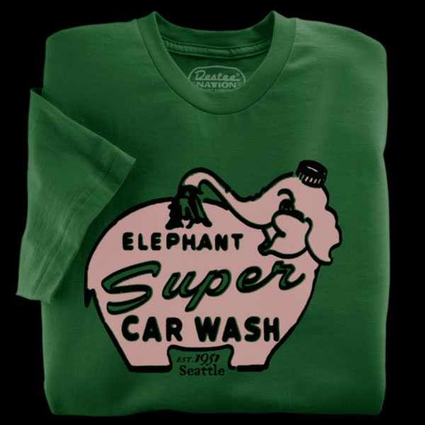 Elephant Car Wash Green T-Shirt from Seattle, Washington