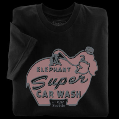 Elephant Car Wash Black T-Shirt from Seattle, Washington