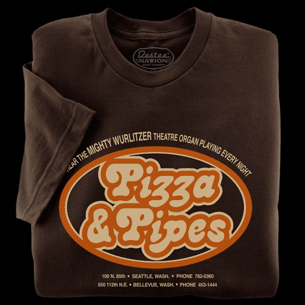 Pizza & Pipes Brown T-Shirt