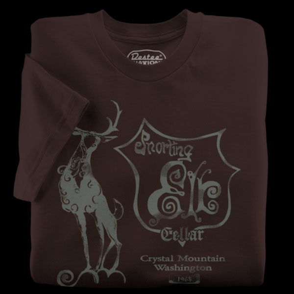 Snorting Elk Cellar Brown T-Shirt from Crystal Mountain, Washington