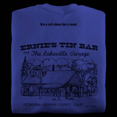 Blue t-shirts from Ernie's Tin Bar in Petaluma California