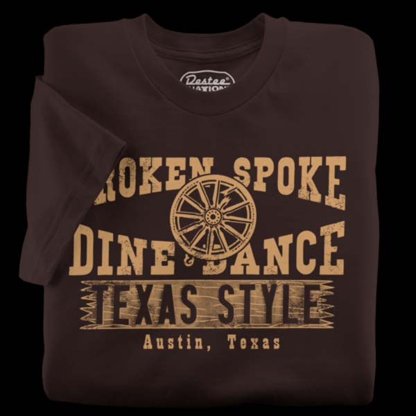 The Broken Spoke T-Shirt from Austin Texas in red