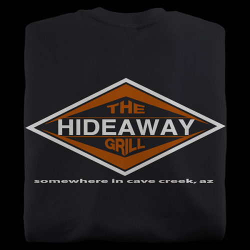Black t-shirts from Hideaway Grill in Cave Creek Arizona