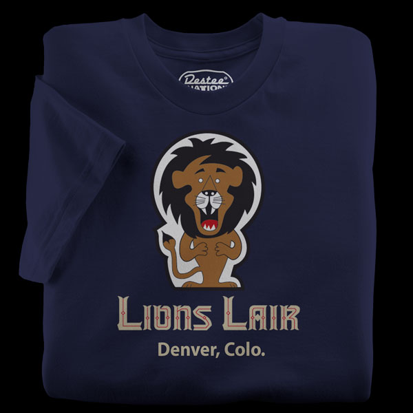 Lion's Lair Lounge Navy T-Shirt in Denver Colorado