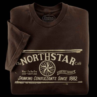 Brown t-shirts from the Northstar Cafe in San Fransisco California