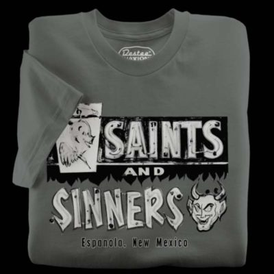 Saints & Sinners Liquors gray t-shirt from Espanola New Mexico