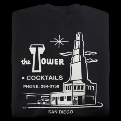 Black t-shirts from The Tower Bar in San Diego