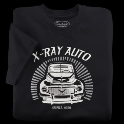 Black t-shirts from X-Ray Auto in Seattle Washington