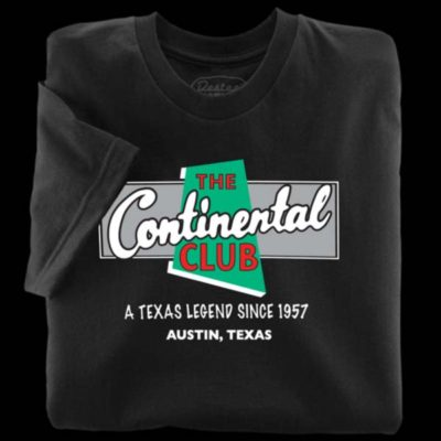 Black t-shirts from The Continental Club in Austin Texas