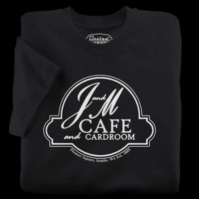 J&M Cafe and Cardroom black t-shirt